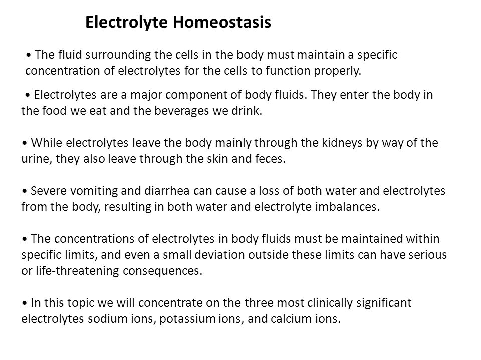 Electrolytes Enter The Body In The Food We Eat