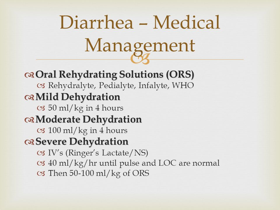 Diarrhea – Medical Management