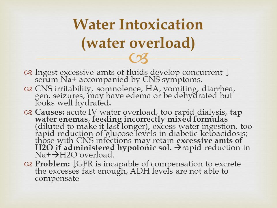 Water Intoxication (water overload)