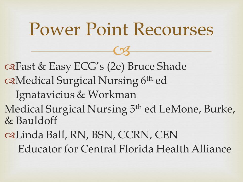 Power Point Recourses Fast & Easy ECG's (2e) Bruce Shade