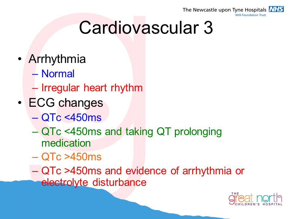 Cardiovascular 3 Arrhythmia ECG changes Normal Irregular heart rhythm