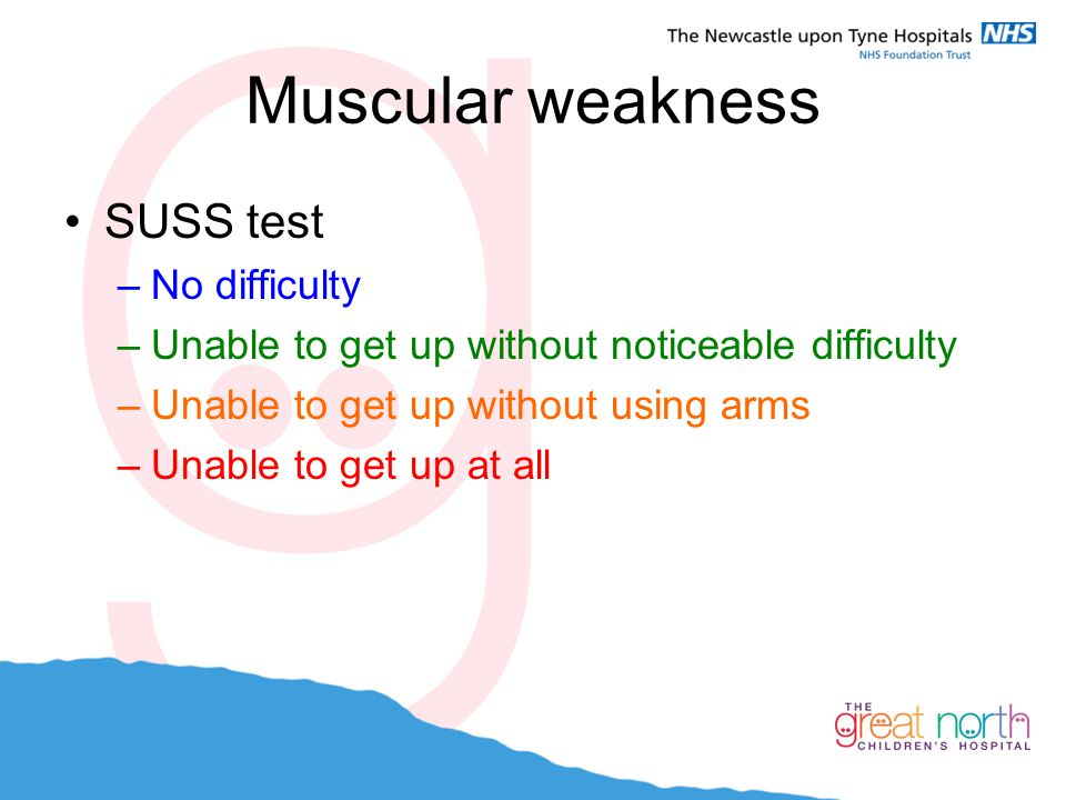 Muscular weakness SUSS test No difficulty