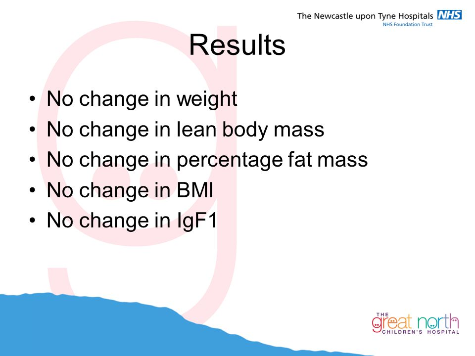Results No change in weight No change in lean body mass