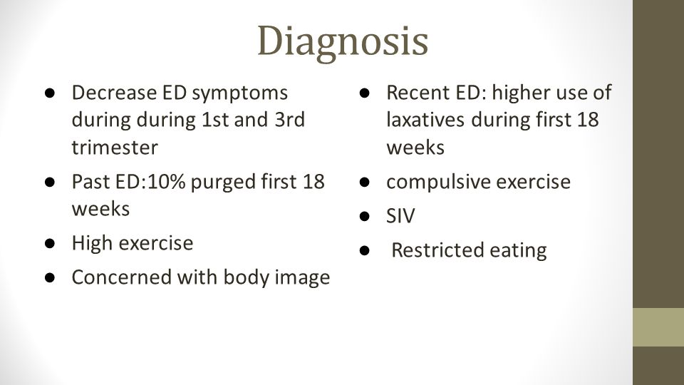 Diagnosis Decrease ED symptoms during during 1st and 3rd trimester