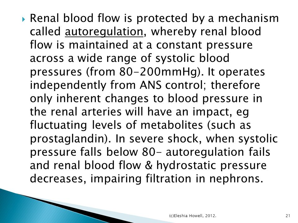 Renal blood flow is protected by a mechanism called autoregulation, whereby renal blood flow is maintained at a constant pressure across a wide range of systolic blood pressures (from 80-200mmHg). It operates independently from ANS control; therefore only inherent changes to blood pressure in the renal arteries will have an impact, eg fluctuating levels of metabolites (such as prostaglandin). In severe shock, when systolic pressure falls below 80- autoregulation fails and renal blood flow & hydrostatic pressure decreases, impairing filtration in nephrons.