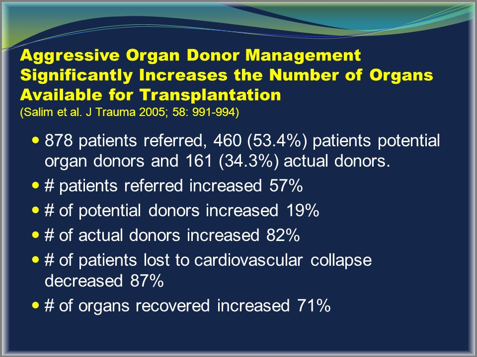# patients referred increased 57% # of potential donors increased 19%