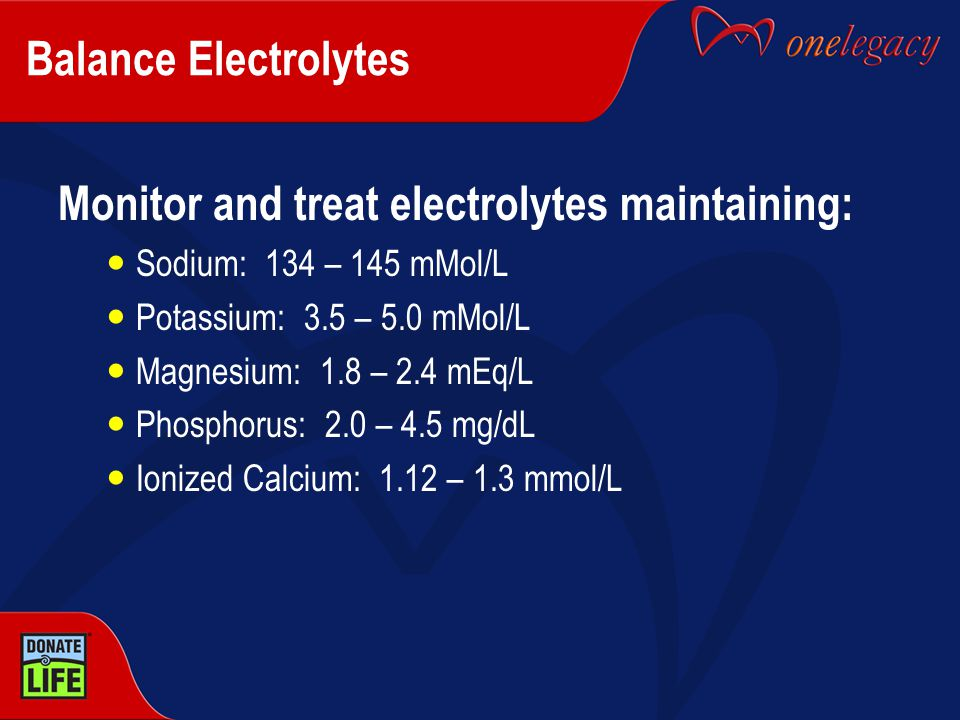 Monitor and treat electrolytes maintaining:
