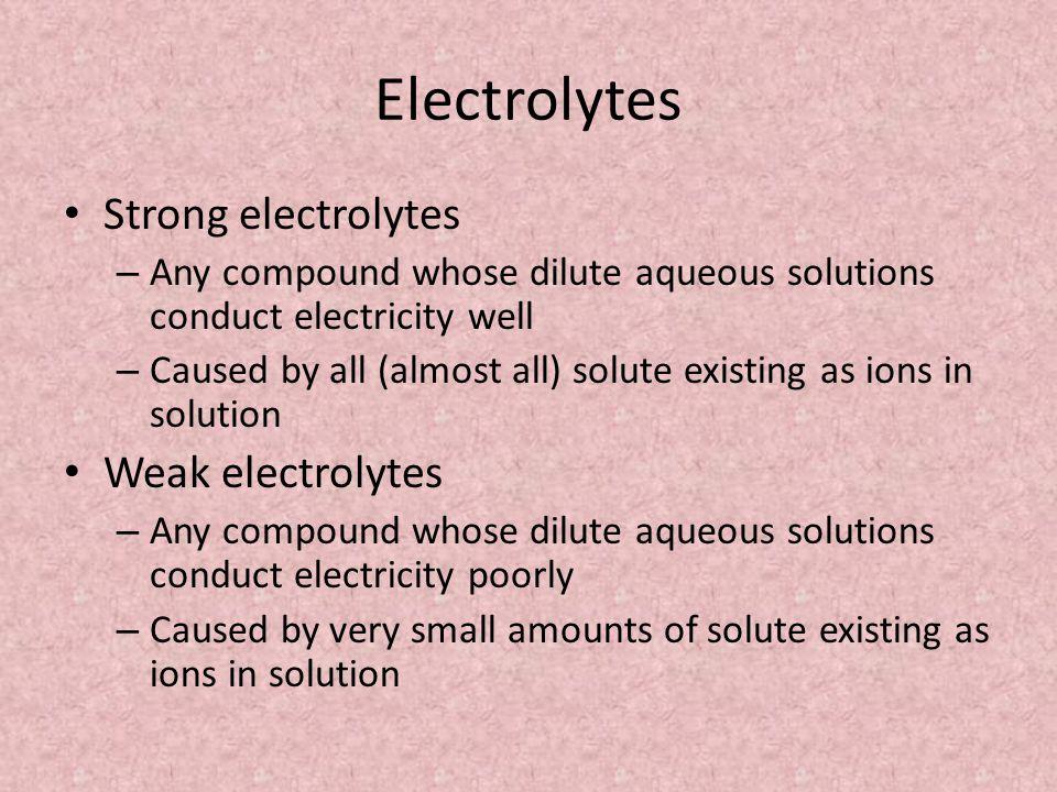 Electrolytes Strong electrolytes Weak electrolytes