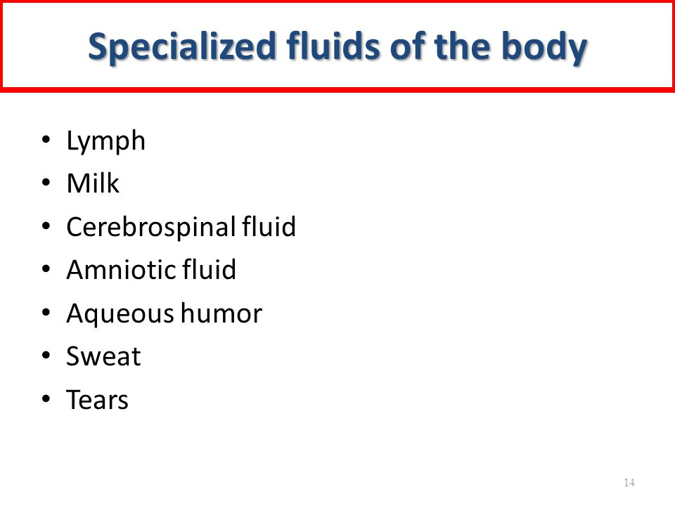 Specialized fluids of the body