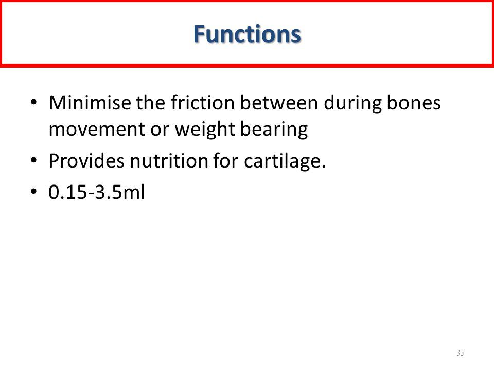 Functions Minimise the friction between during bones movement or weight bearing. Provides nutrition for cartilage.