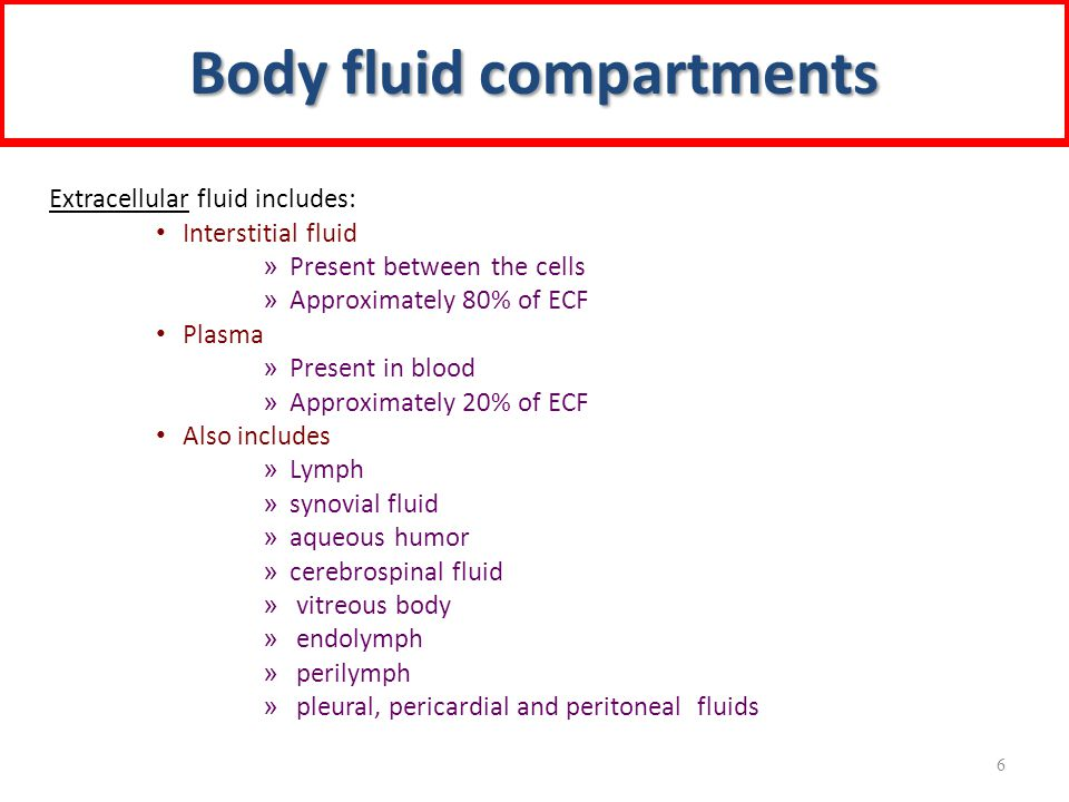 Body fluid compartments