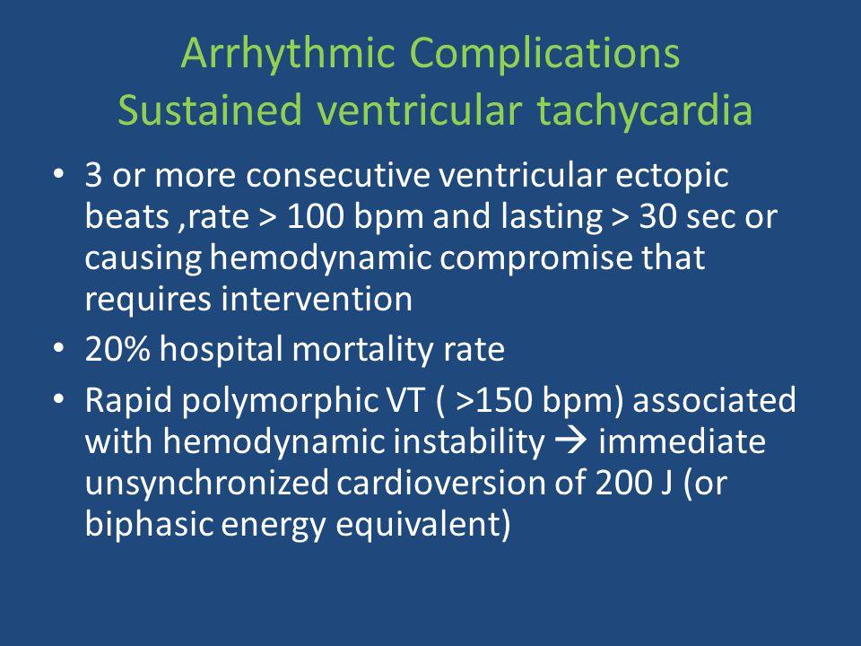 Arrhythmic Complications Sustained ventricular tachycardia