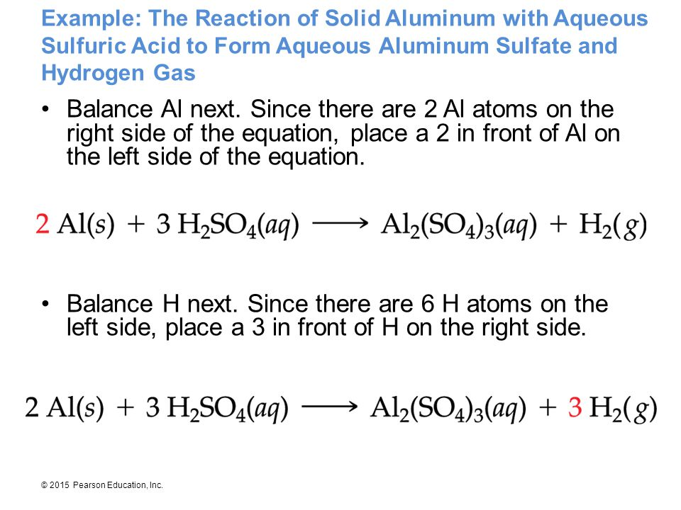Example: The Reaction of Solid Aluminum with Aqueous Sulfuric Acid to Form Aqueous Aluminum Sulfate and Hydrogen Gas