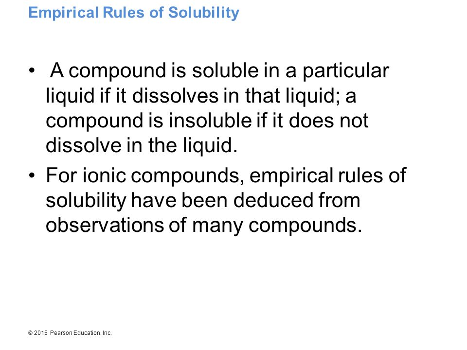 Empirical Rules of Solubility