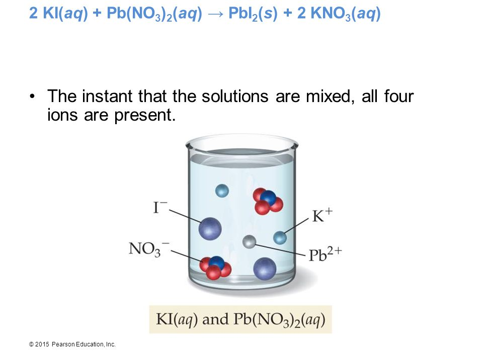 2 KI(aq) + Pb(NO3)2(aq) → PbI2(s) + 2 KNO3(aq)