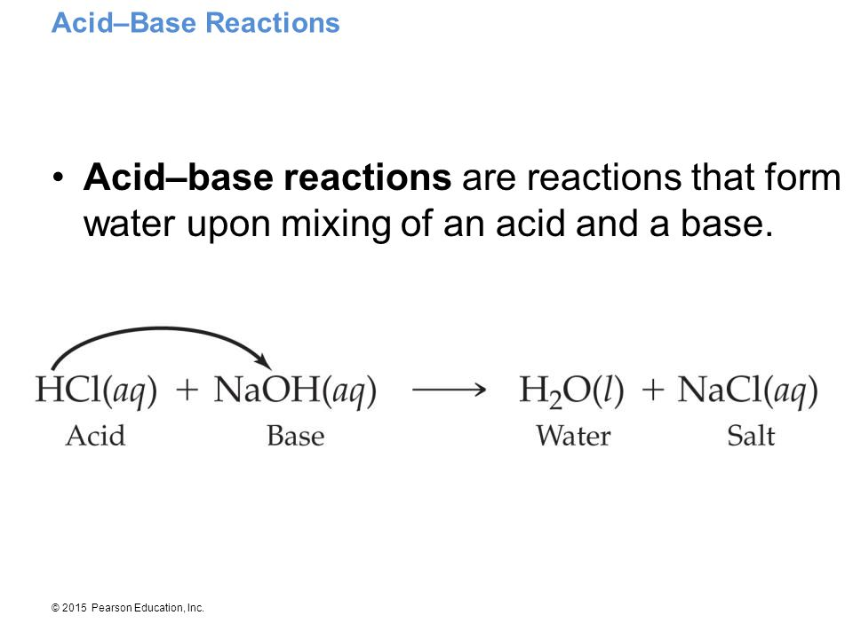 Acid–Base Reactions Acid–base reactions are reactions that form water upon mixing of an acid and a base.
