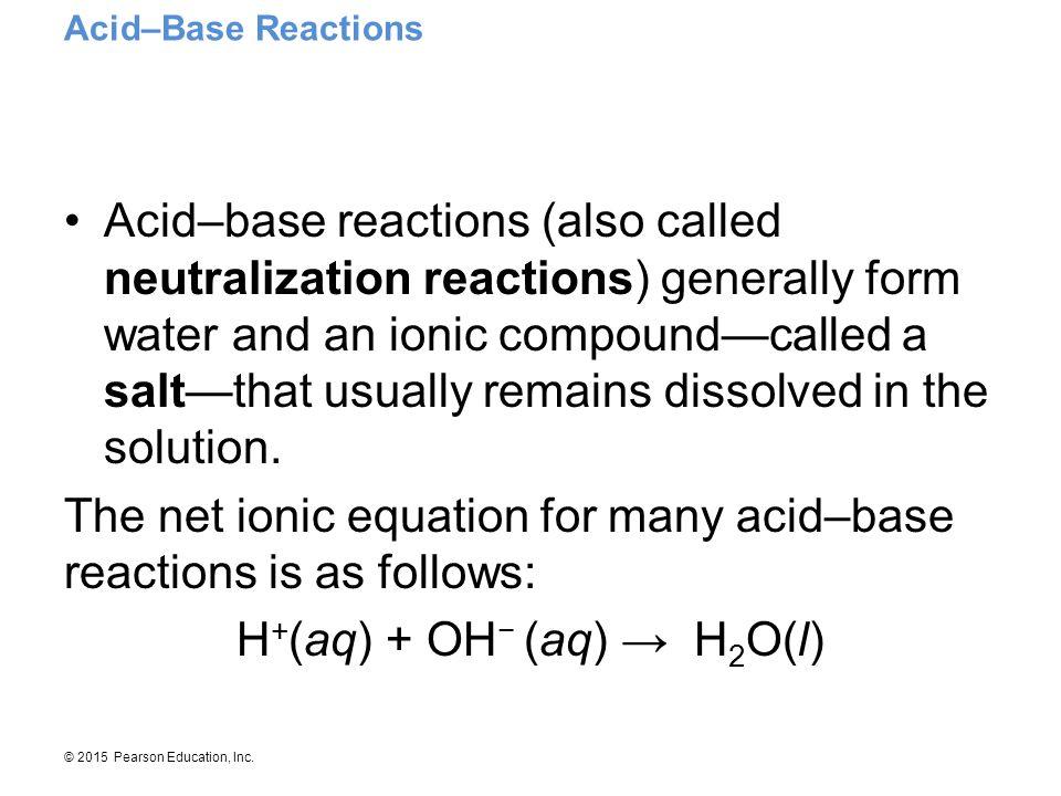 H+(aq) + OH− (aq) → H2O(l)