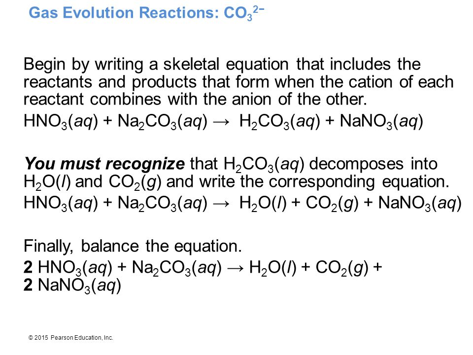 Gas Evolution Reactions: CO32−