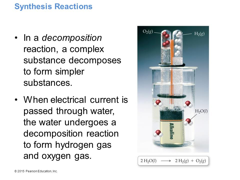 Synthesis Reactions In a decomposition reaction, a complex substance decomposes to form simpler substances.