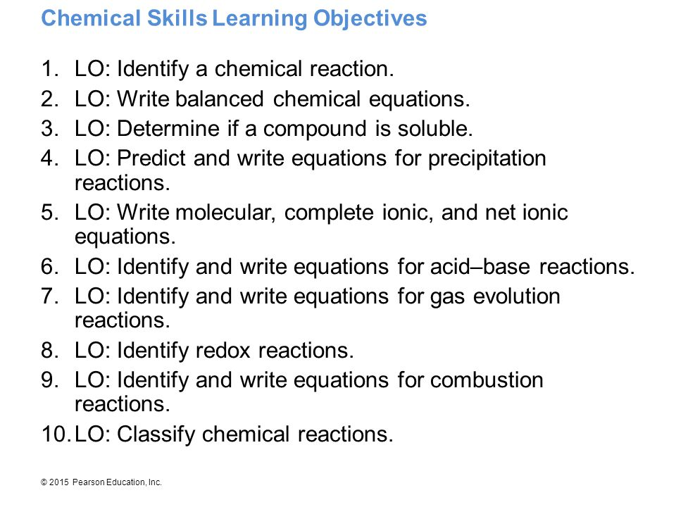 Chemical Skills Learning Objectives