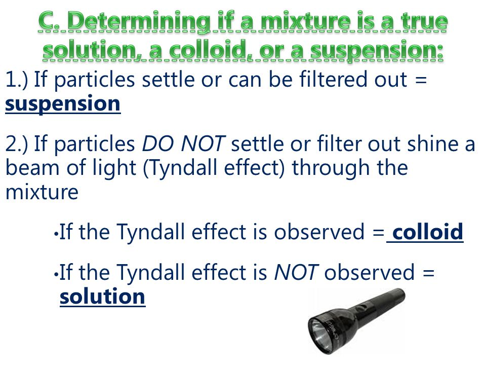 C. Determining if a mixture is a true solution, a colloid, or a suspension:
