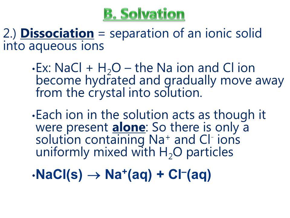 B. Solvation NaCl(s)  Na+(aq) + Cl–(aq)