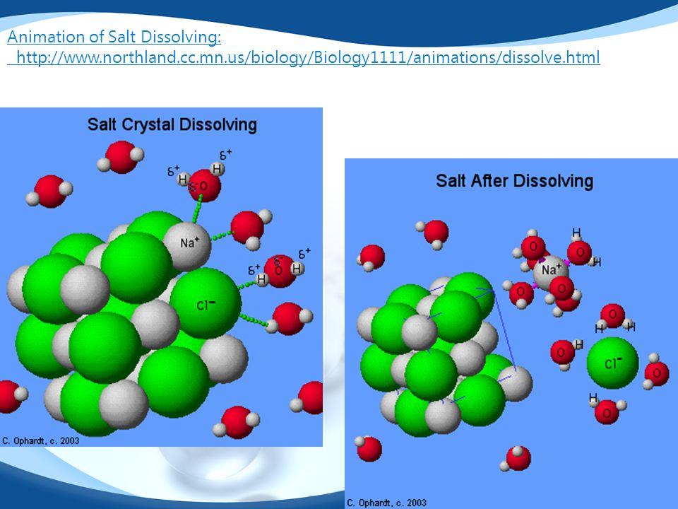 Animation of Salt Dissolving: