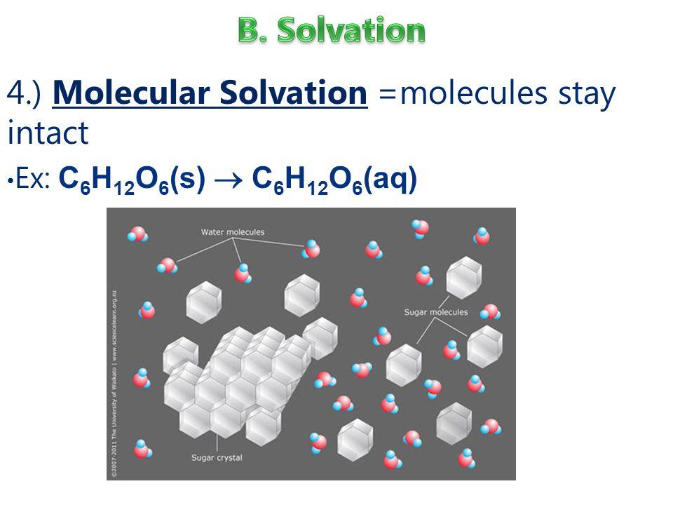4.) Molecular Solvation =molecules stay intact