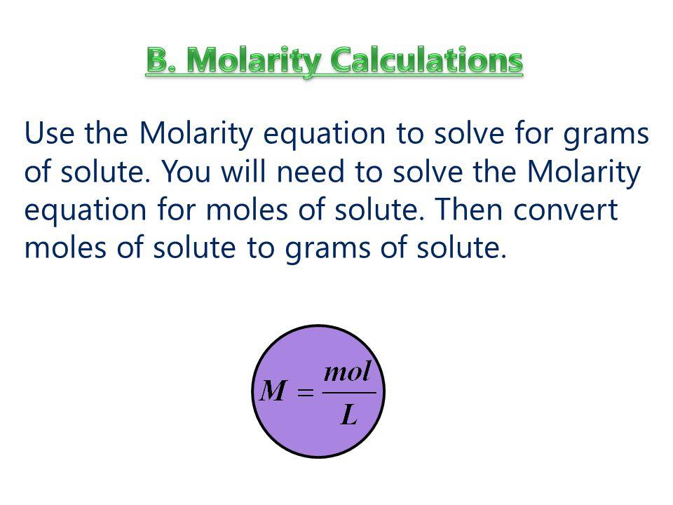 B. Molarity Calculations