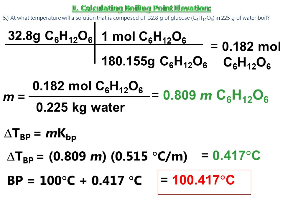 E. Calculating Boiling Point Elevation: