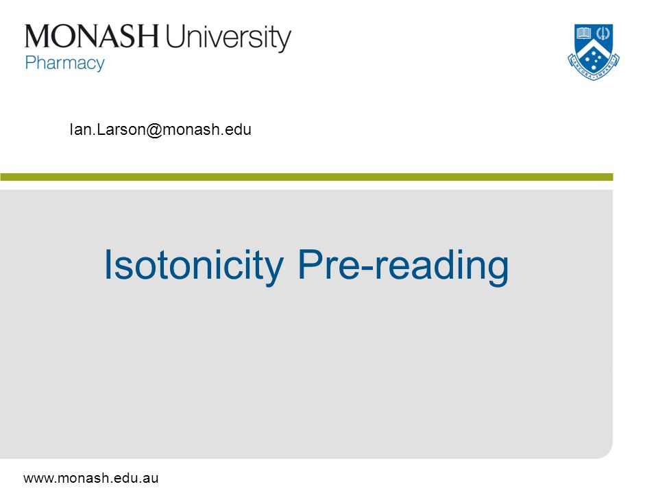 Isotonicity Pre-reading