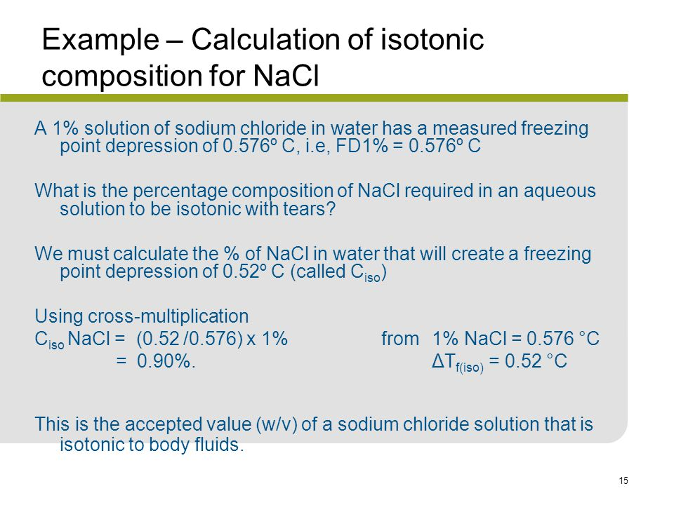 Example – Calculation of isotonic composition for NaCl