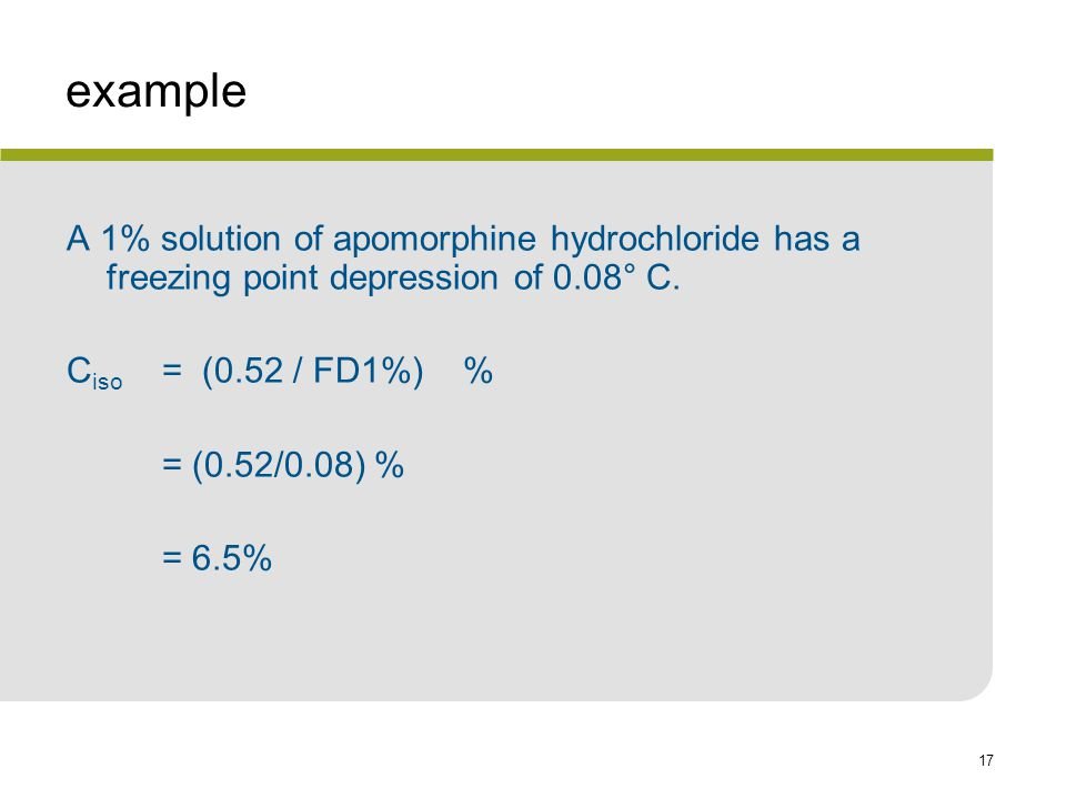 example A 1% solution of apomorphine hydrochloride has a freezing point depression of 0.08° C. Ciso = (0.52 / FD1%) %