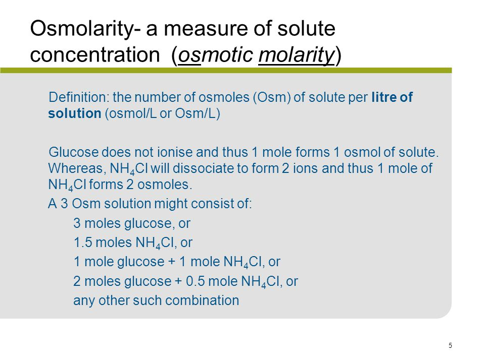 Osmolarity- a measure of solute concentration (osmotic molarity)