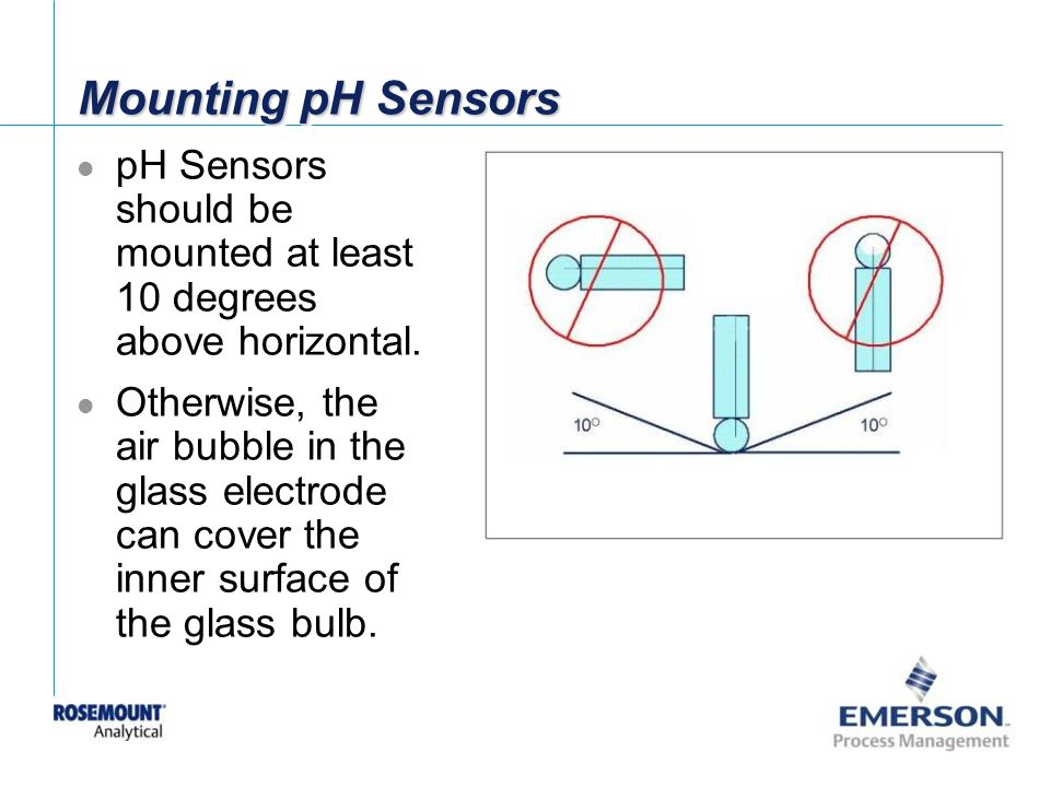 Mounting pH Sensors pH Sensors should be mounted at least 10 degrees above horizontal.
