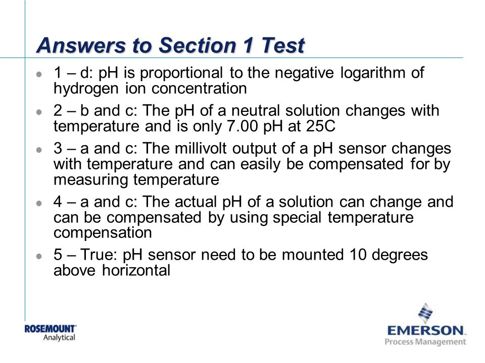 Answers to Section 1 Test