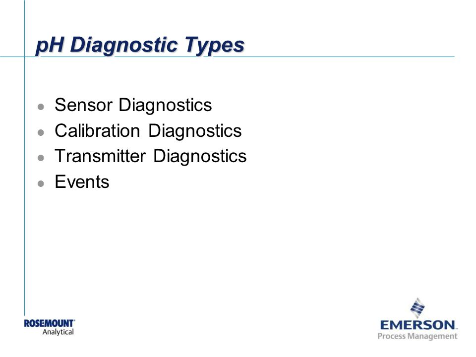 pH Diagnostic Types Sensor Diagnostics Calibration Diagnostics