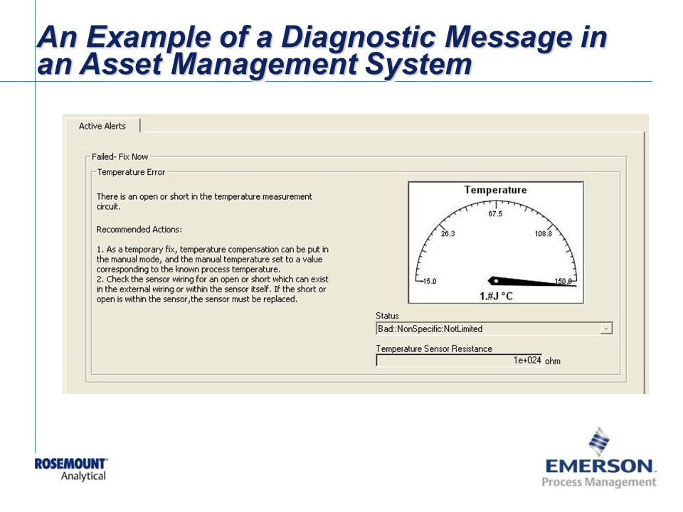 An Example of a Diagnostic Message in an Asset Management System