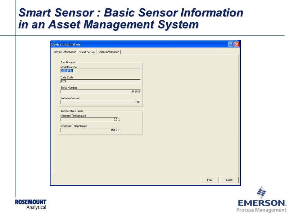 Smart Sensor : Basic Sensor Information in an Asset Management System