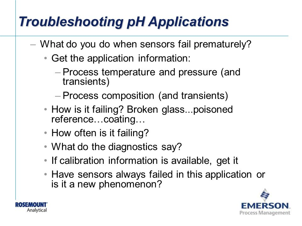 Troubleshooting pH Applications