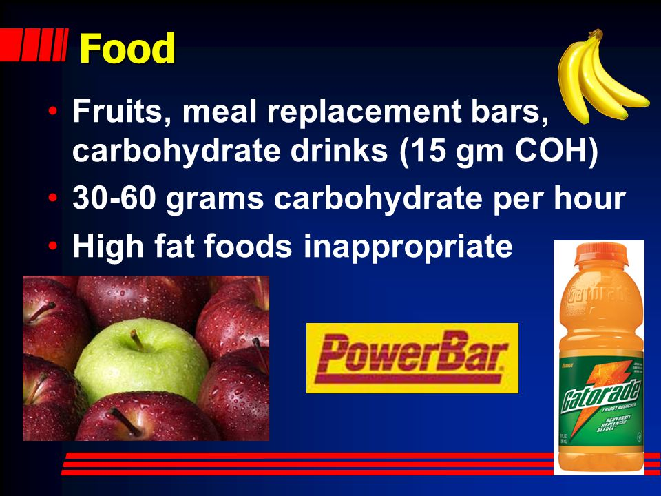 Food Fruits, meal replacement bars, carbohydrate drinks (15 gm COH)