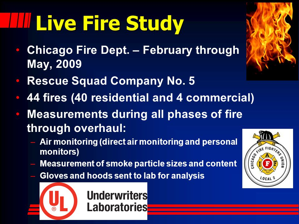 Live Fire Study Chicago Fire Dept. – February through May, 2009