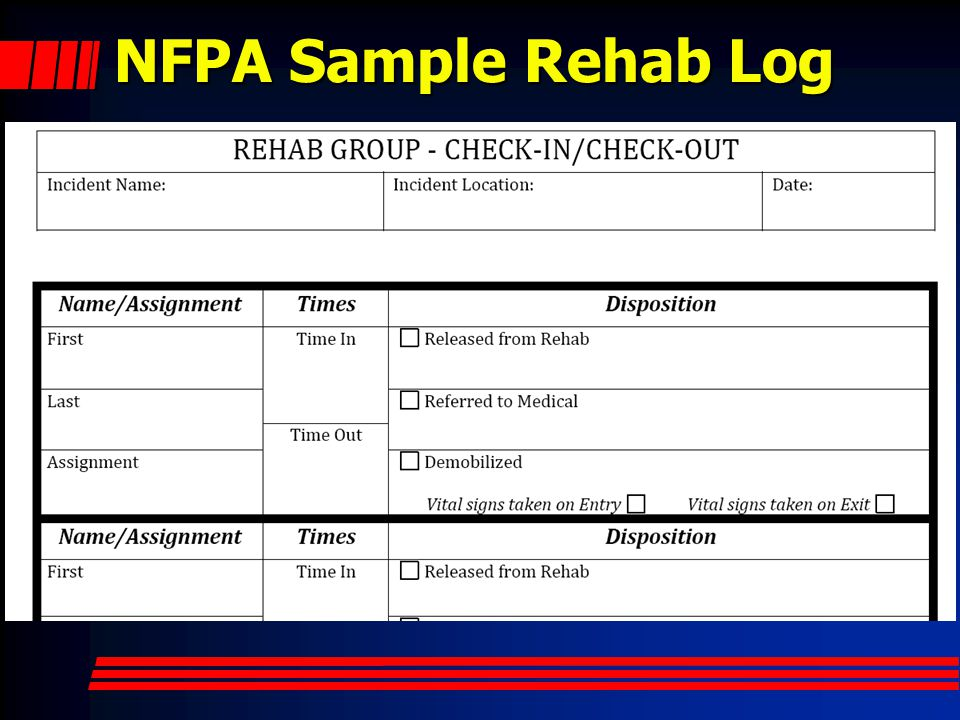 NFPA Sample Rehab Log