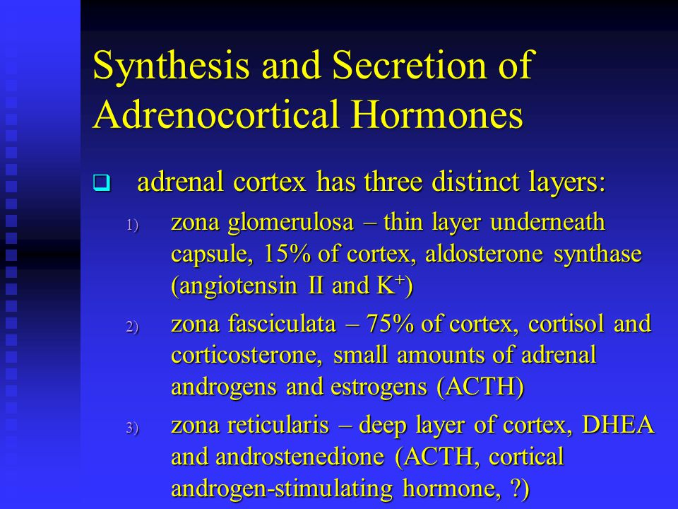 Synthesis and Secretion of Adrenocortical Hormones