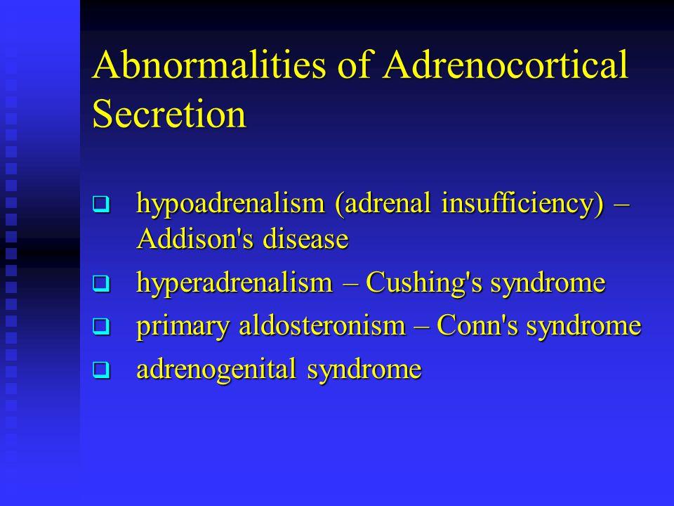 Abnormalities of Adrenocortical Secretion