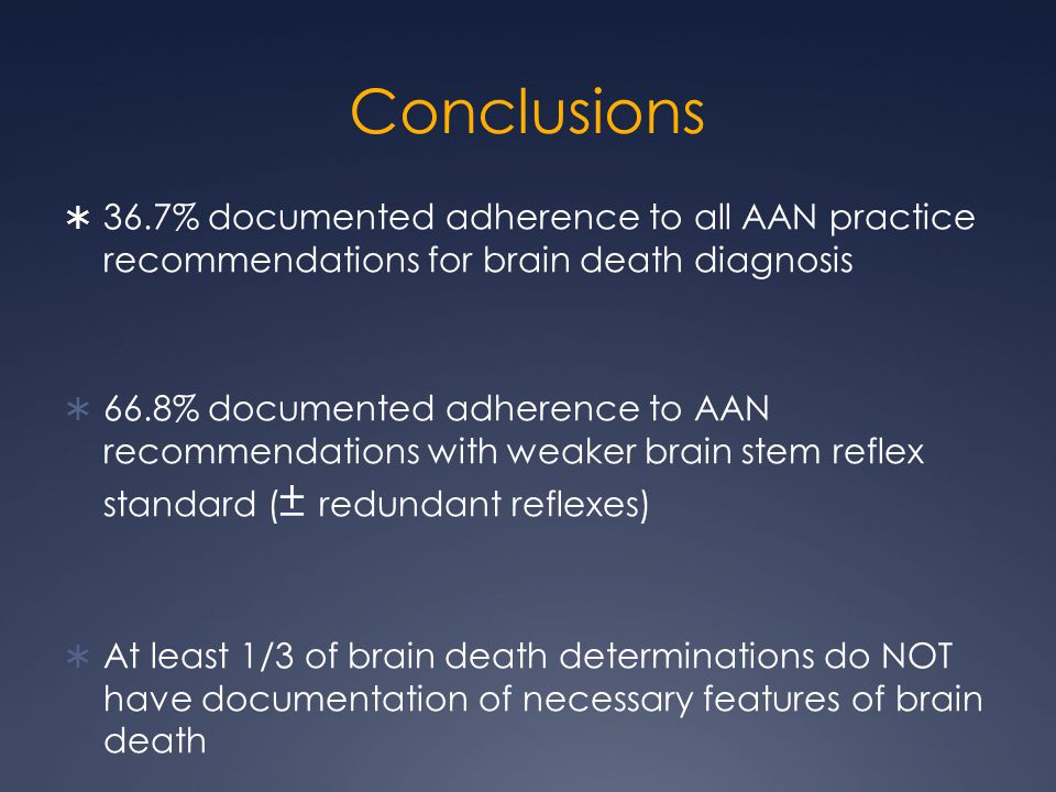 Conclusions 36.7% documented adherence to all AAN practice recommendations for brain death diagnosis.