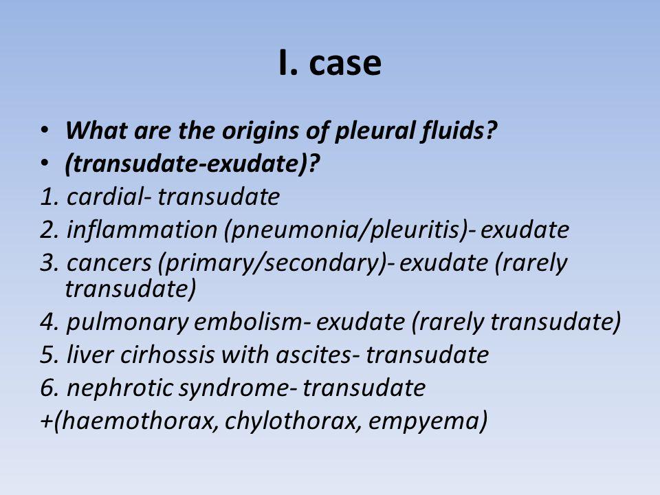 I. case What are the origins of pleural fluids (transudate-exudate)