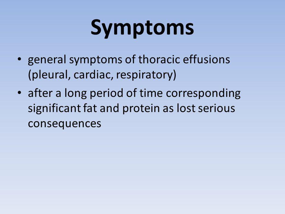 Symptoms general symptoms of thoracic effusions (pleural, cardiac, respiratory)