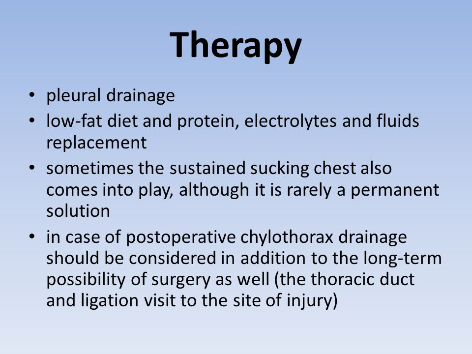Therapy pleural drainage