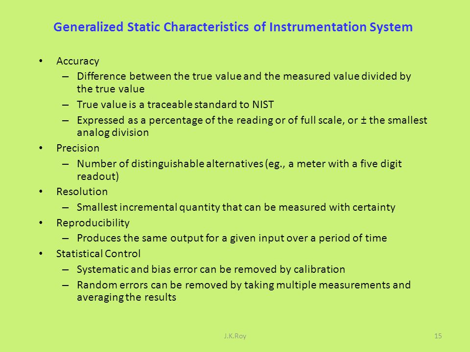 Generalized Static Characteristics of Instrumentation System